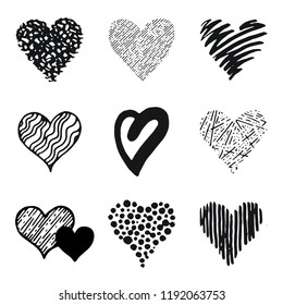 Hearts icon set, hand drawn doodle sketch style. Outline and shape handdrawn illustrations by brush, pen, pencil, ink. Vector drawing for Valentine's day logo,design,card and more. Cute retro style