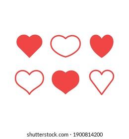 Hearts icon set. Valentine's day heart vector.