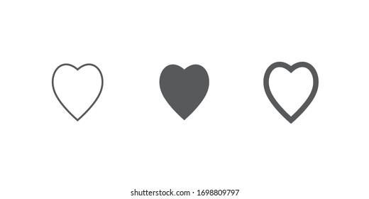 Hearts icons. Love symbol collection. Vector illustration.