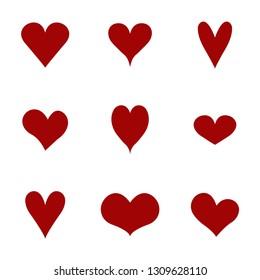 hearts icons set. Vector illustration