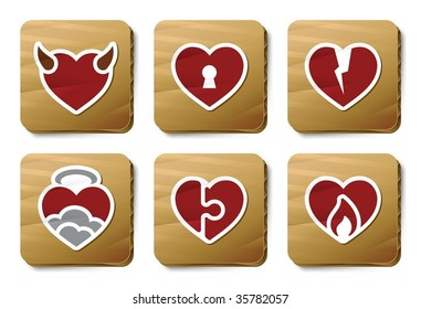 Hearts icons. Vector icon set. Three color icons on cardboard tags.