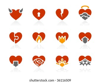 Hearts icons. Vector icon set. Three color icons.