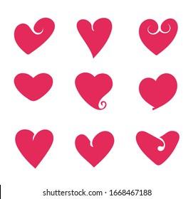 Hearts isolated set. Vector flat graphic design cartoon illustration