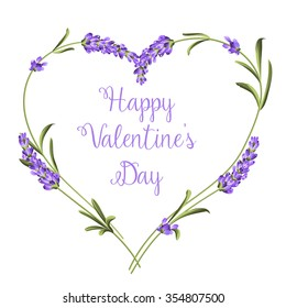 Hearts of lavender flowers elements.Happy Valentine's Day.Lavender flowers on a white background.Botanical illustration. Vintage style. Making gifts of paper and textiles. Vector illustration bundle.