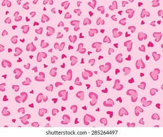 Hearts leopard seamless background