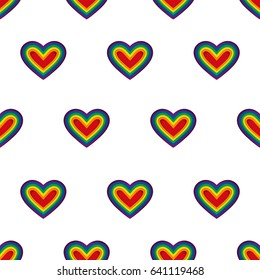 Hearts. LGBT. Vector. Seamless pattern. Rainbow hearts on white background. Repeating wallpaper.