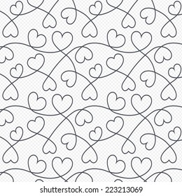 Hearts lines pattern background. Abstract love wallpaper. Valentine`s day. Grid lines texture. Cells repeating pattern. White background. Vector