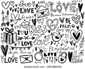 Hearts, love calligraphy vector collection. Valentine's day and wedding hand drawn illustrations. Grunge hand drawn text and elements sketches. Engraved style drawings.