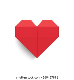 Hearts made of paper in origami style for healthcare concept, Vector illustration  your design and red color on isolated background, Heart icon for valentine's day