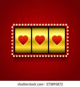 Hearts on slot machine.