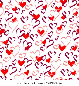 Hearts on a white background. Seamless pattern. Vector illustration.