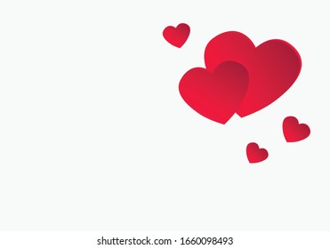 Hearts on white texture background. Vector illustration