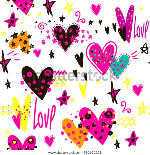 hearts pattern. Abstract repeated backdrop on white background with bright colorful girlish love  elements. Funny childish wallpaper. Romantic chaotic wrapping paper