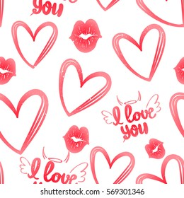 Hearts pattern. Abstract seamless background for girls. fashion clothes, textile, wrapping paper. Cute tender girlish romantic repeated backdrop. Valentines day. I love you wallpaper with kiss lips.