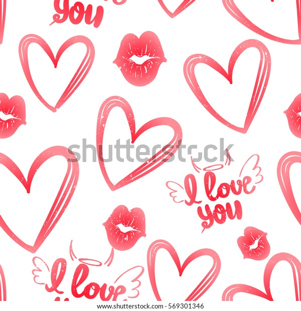 Hearts Pattern Abstract Seamless Background Girls Stock
