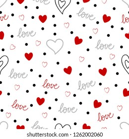 Hearts pattern with love word