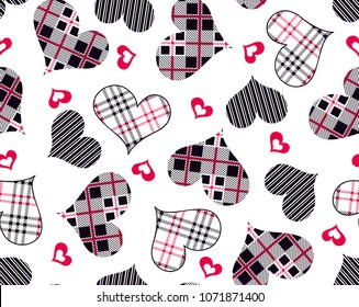 Hearts pattern from Plaid and stripes lines for fashion print,textile pattern,fabric design