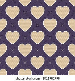 Hearts pattern. Valentines day background, vector illustration. Creative, luxury style. Print card, cloth, clothing, wrap, wrapper, web, cover, label, gift, banner, poster, website, invitation