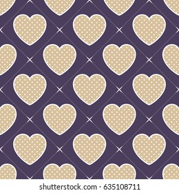 Hearts pattern. Valentines day background, vector illustration, image. Creative, luxury style. Print card, cloth, clothing, wrap, wrapper, web, cover, label, gift, banner, poster, website, invitation.