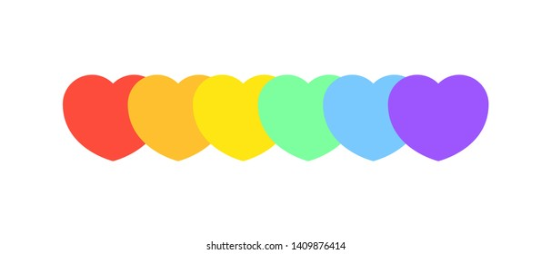 Hearts of rainbow colors. Colors of the LGBT community.  Lgbt concept against homosexual discrimination.