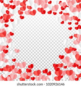 Hearts Random Background. St. Valentine's Day.   Romantic Scattered Hearts Texture. Love. Sweet Moment. Vector Illustration.   Element of Design for Cards, Banners, Posters, Flyers.