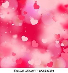 Hearts Random Background. St. Valentine's Day.   Romantic Scattered Hearts Design Element. Love. Light, Bokhe, Magic Clouds, Moments.   Element of Design for Cards, Banners, Posters, Flyers.