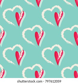 Hearts seamless pattern. Lovely hand drawn hearts background for romantic design, valentines day, birthday, wedding, Hand drawn elements. Vector illustration.