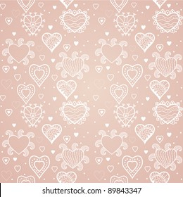 hearts seamless pattern, romantic hearts seamless background