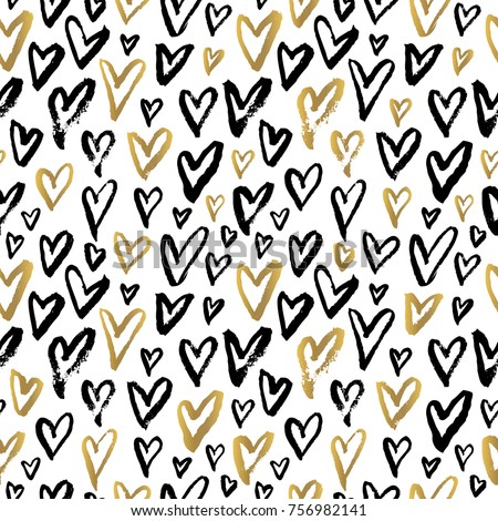hearts seamless patterns sketch styles trendy stock vector royalty