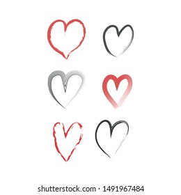 Hearts set. Handmade style. Love concept. Vector illustration.
