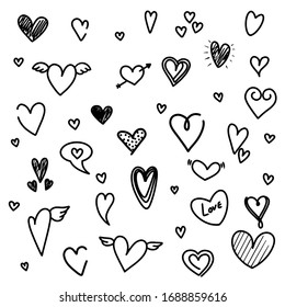 Hearts set icon. Vector illustration of handmade hearts set of design elements.
