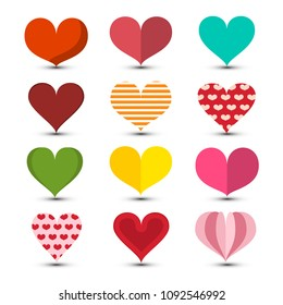 Hearts Set. Love Symbol. Colorul Vector Retro Romance Symbols. Heart Icon.