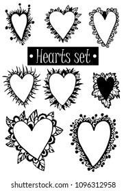 Hearts set vector illustration hand drawing frame for writing text for wish lovers for a wedding