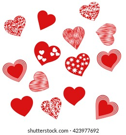 Hearts shape vector. Set symbols of love on a white background. Colorful valentines with pattern. Romantic art. Abstract festive elements for Valentine's Day. The backdrop for invitations with hearts