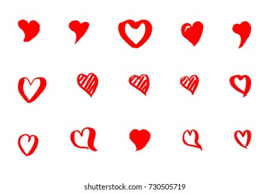 Hearts, sketched icons