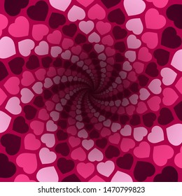 Hearts spiral pattern in a hypnotizing pink tunnel with dark center. Symbolic for rapture of love, confusion of love, love charm.