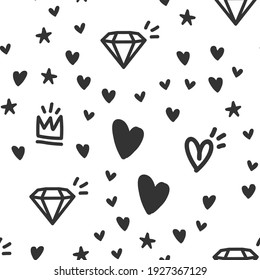 Hearts, stars, crowns and diamond doodles seamless pattern. Cute hand drawn background texture.