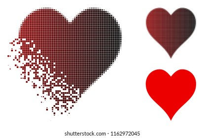 Hearts suit icon in sparkle, dotted halftone and undamaged whole variants. Pieces are composed into vector sparkle hearts suit form.