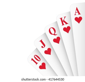Hearts suit royal flush poker hand vector
