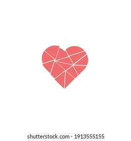Hearts, Symbols of Love and Valentine's Day. Pastel broken heart in red color on white background. Vector illustration.