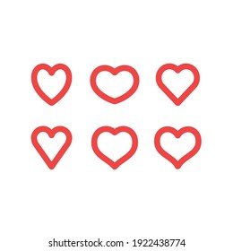 Hearts vector icon collection. Valentine's day romance symbols.