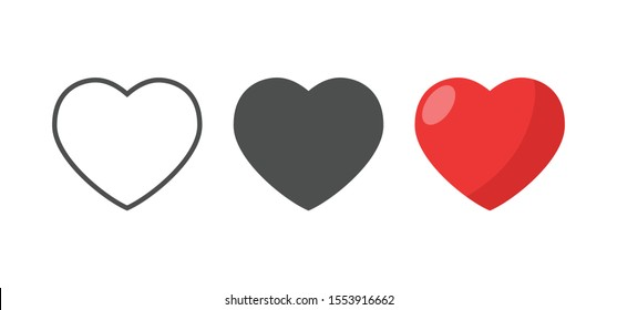 Hearts vector icons. Love symbol collection.