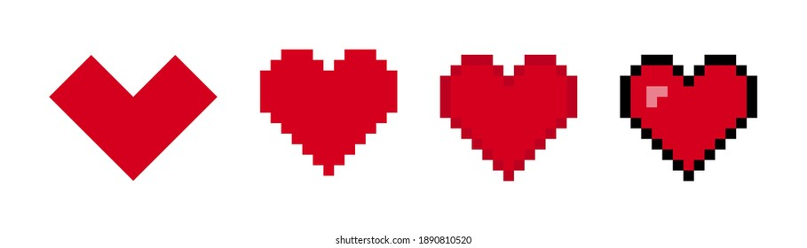 Hearts vector pixel icons isolated elements. Vector illustration. Love symbol isolated  signs. EPS 10