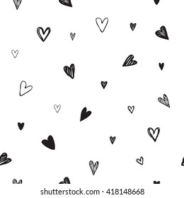 Hearts Vector.  Seamless pattern. Hand drawn hearts. Symbol of love. Graphic design element. Hearts doodle. Card design.