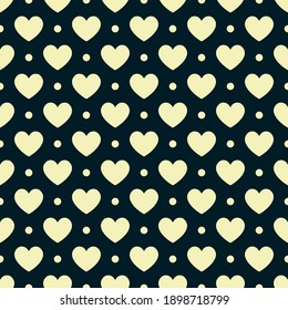 Hearts vector seamless pattern for shirt, panties, tank top or swimsuit, underwear, bedding pillow. Yellow love background. Wedding textile. Fashion design for Valentines day