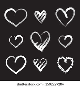 Hearts, vector set.  Chalkboard stylized illustration. Elements for your design.