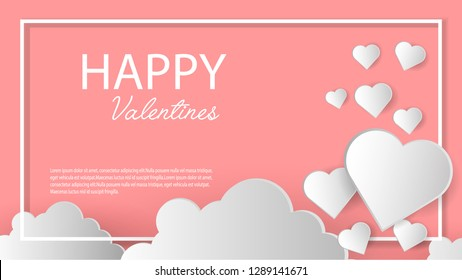hearts with a white frame. Cute background with hearts for Valentine's day. Concept for greeting card or banner.1920x1080