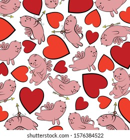 Hearts and winged cats. Valentine's day background. multi-colored hearts and winged cats with arrows and bows. Design element. Vector illustration.