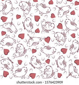 Hearts and winged cats. Valentine's day background. Pink hearts and white winged cats with arrows and bows. Design element. Vector illustration.