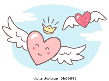 Hearts with wings and funny smiling faces, sky with clouds. Valentines Day vector illustration. Cute cartoon style picture. Winged hearts, shining crown, blue sky background with clouds.